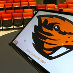 OSU beaver logo on a screen in a classroom