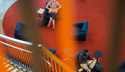 Aerial view of students studying